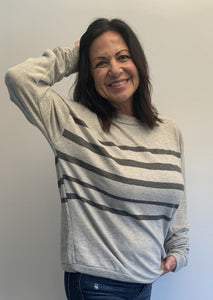 Super-soft Gray Striped Long Sleeve - Jacqueline B Clothing