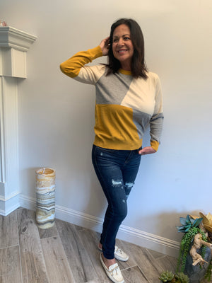 Color Block Gold/Gray Sweater - Jacqueline B Clothing