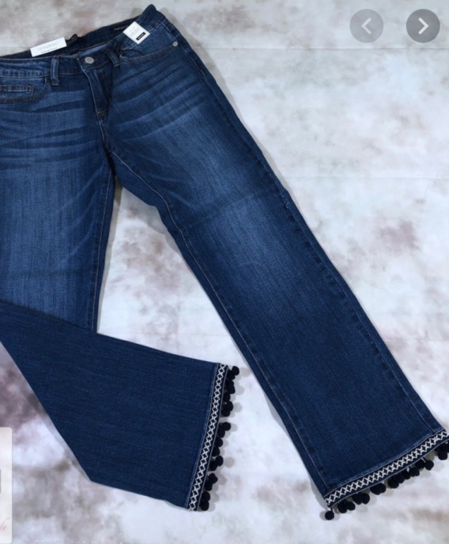 Pom-Pom Bottom Jeans - Jacqueline B Clothing