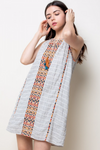 Embroidered Dress w/ Tassels - Jacqueline B Clothing