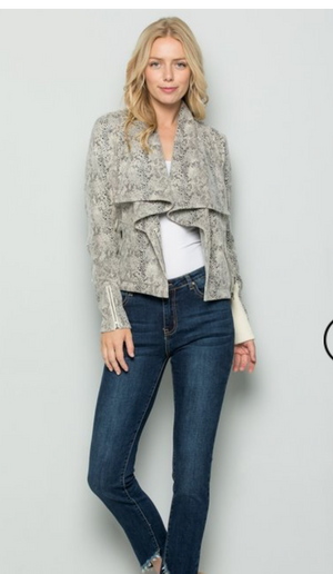 Snake Skin Side Zip Shawl Collar Jacket - Jacqueline B Clothing