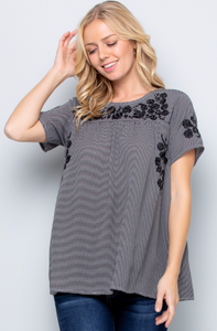 Embroidered Black White Top - Jacqueline B Clothing