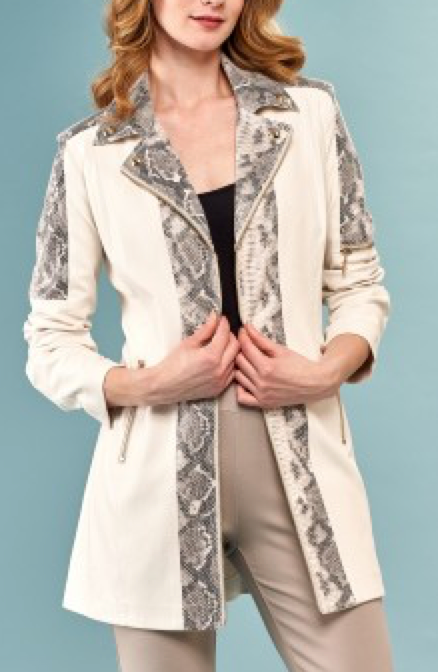 Long Faux Jacket w/ Snake Inset - Jacqueline B Clothing