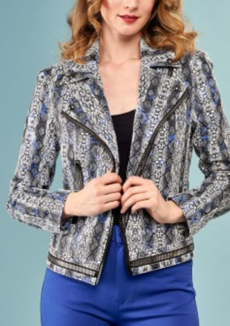 Crop Faux Metallic Jacket w/ Thick Zipper - Jacqueline B Clothing