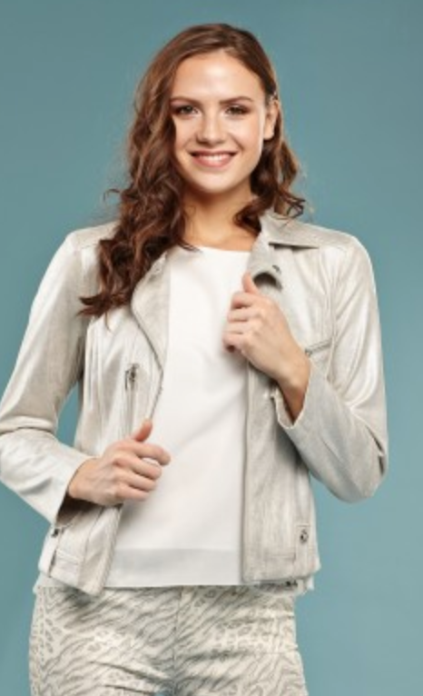 Metallic Faux Leather Jacket - Jacqueline B Clothing