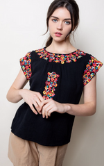 Bright Embroidered Cotton Top - Jacqueline B Clothing
