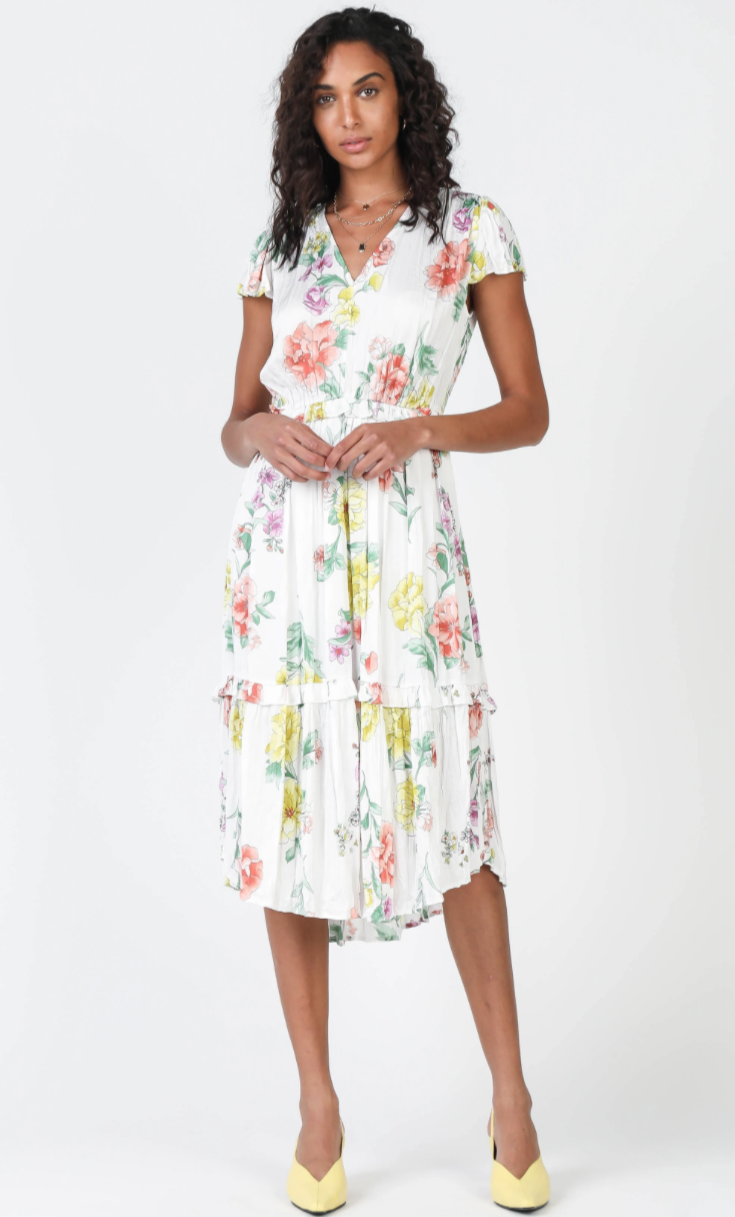 Floral Crinkle Mid Length Dress - Jacqueline B Clothing
