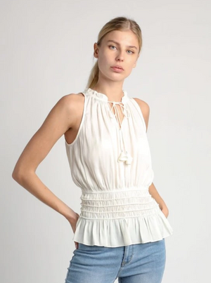 Sleeveless Smocked Waist Top - Jacqueline B Clothing