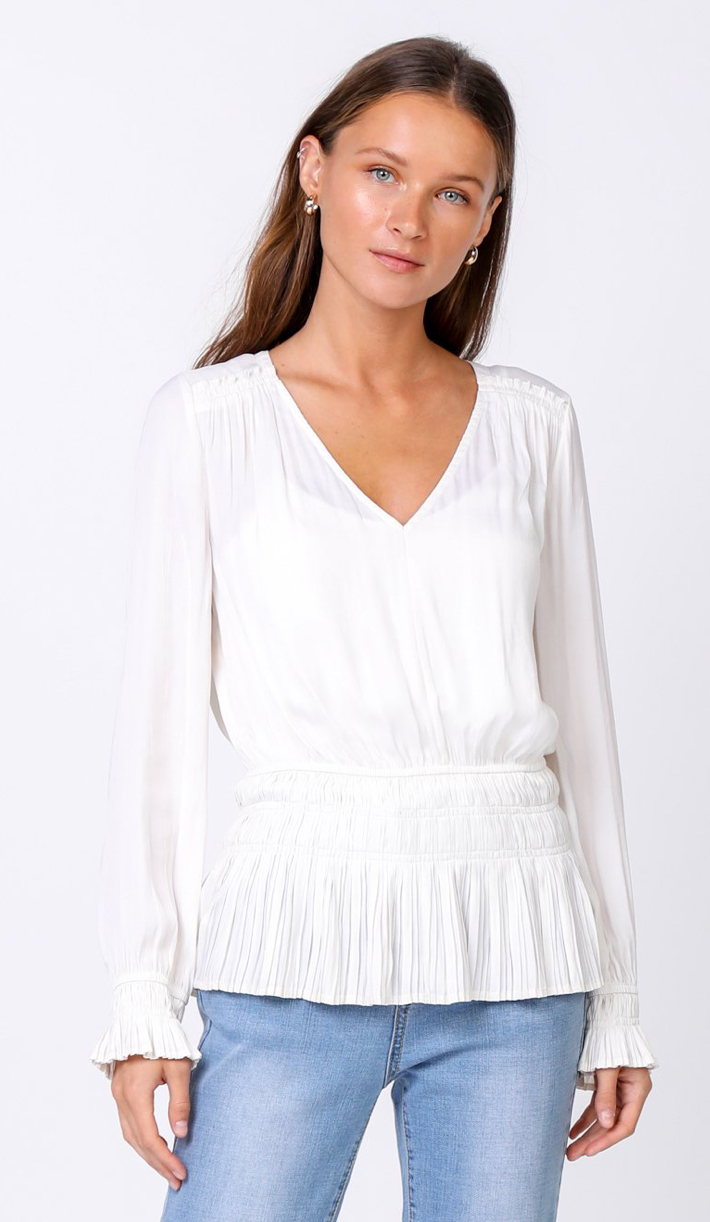 Long Sleeve V Neck Top w/ Pleated Bottom - Jacqueline B Clothing