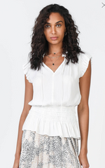 Short Sleeve Smocked Waist Top - Jacqueline B Clothing