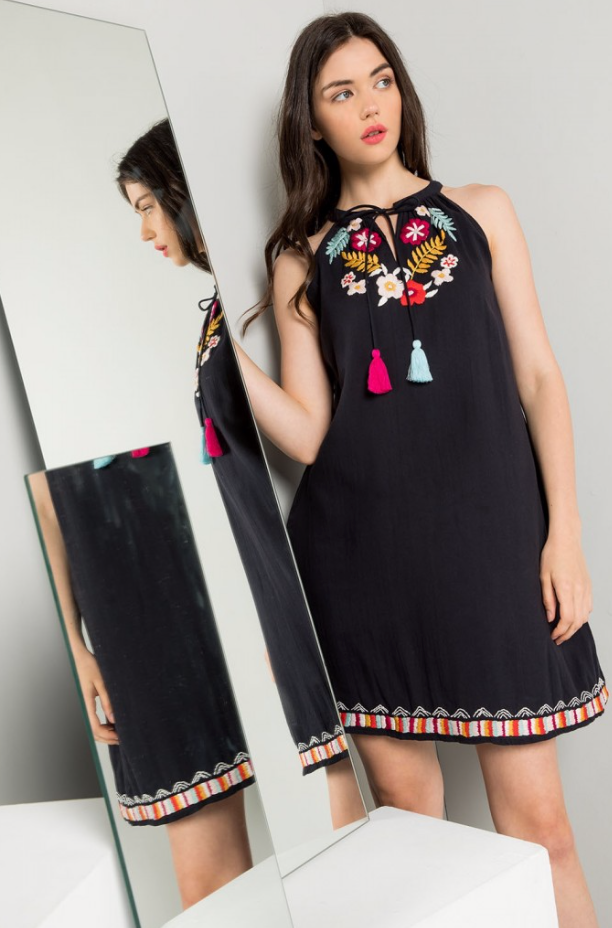 Embroidered Halter Dress - Jacqueline B Clothing