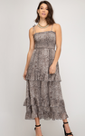 Tube Top Midi Length Snake Print Dress - Jacqueline B Clothing