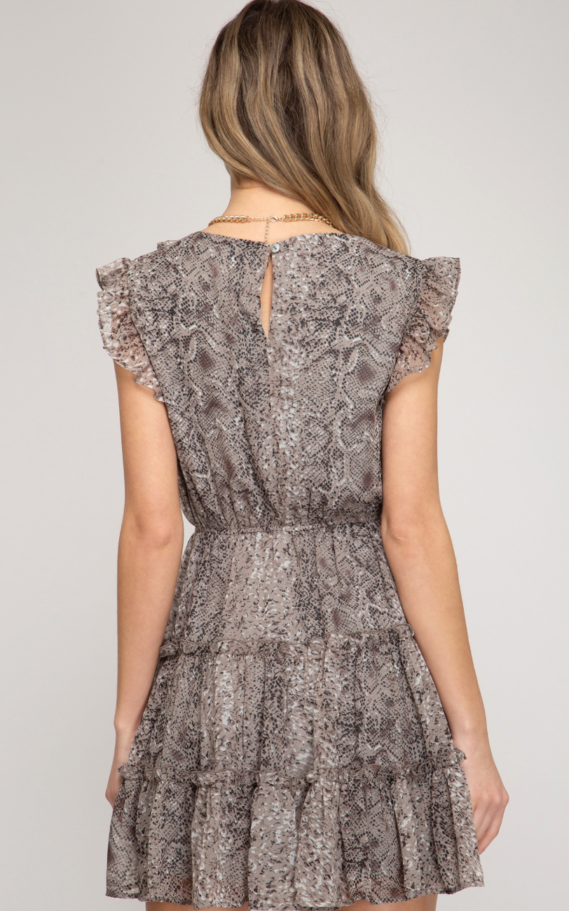 Snake Skin Print Tiered Dress - Jacqueline B Clothing