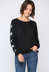 Sweater w/ Stars Down The Arm - Jacqueline B Clothing
