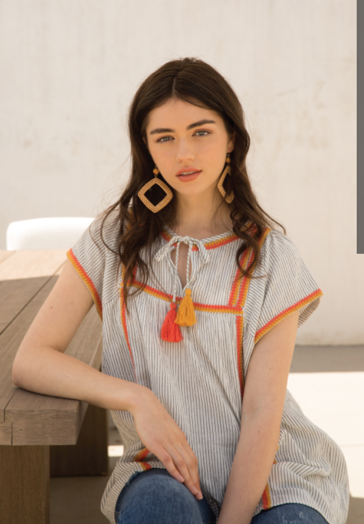 Striped Top w/ Orange Embroidery - Jacqueline B Clothing