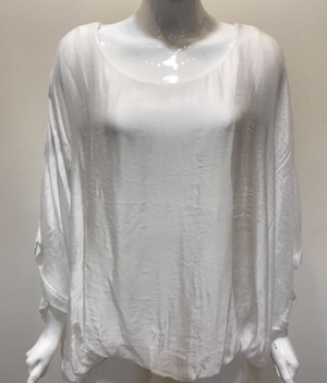 Italian Silk Top w/ Drape Under Arm - Jacqueline B Clothing