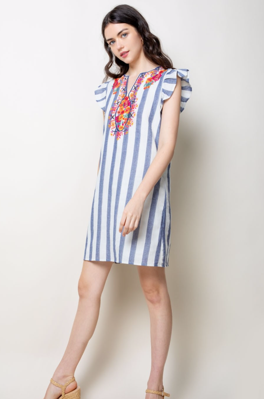 Striped Flutter Sleeve Dress - Jacqueline B Clothing