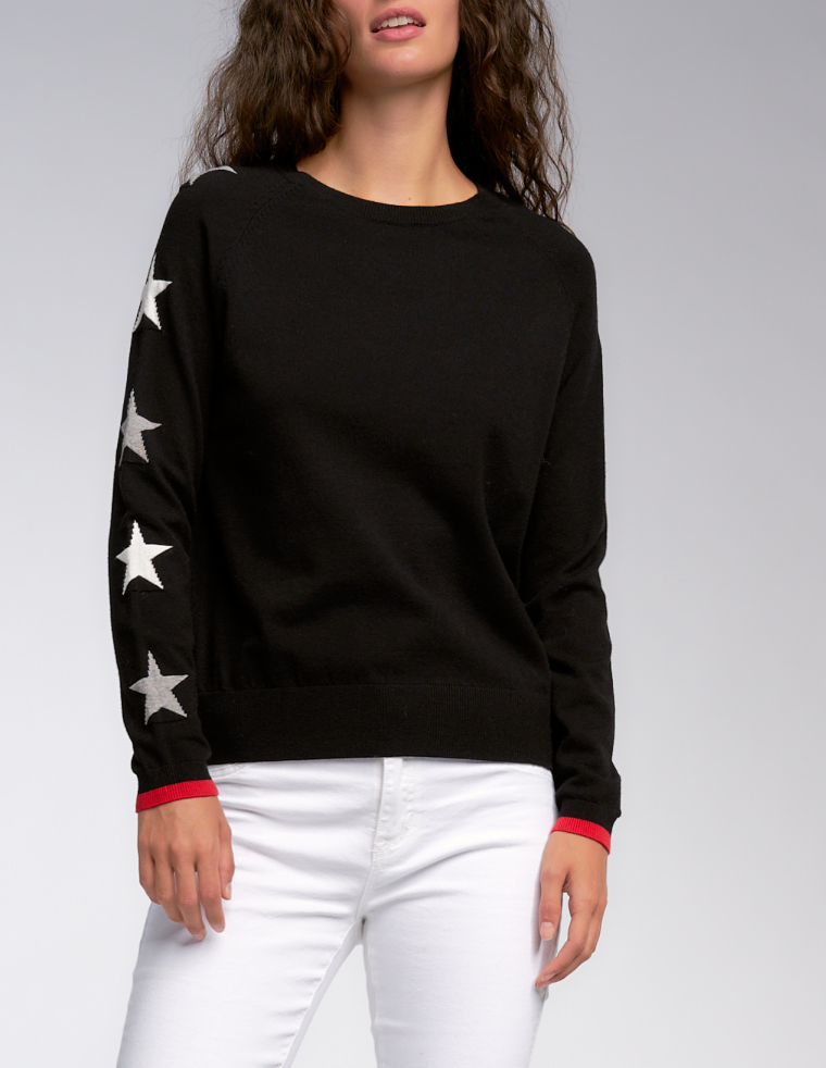 Soft Star Sweater with Heart Patch
