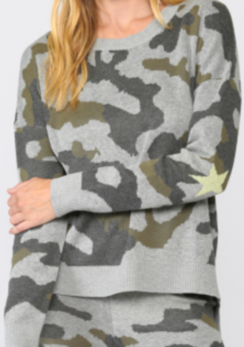 Soft Camo Sweater with Star Elbow Patch