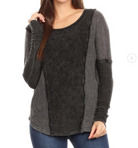Distressed Thermal Sweatshirt