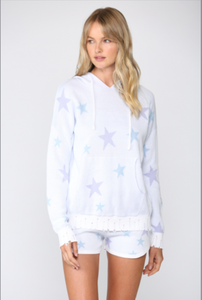 Hoodie Sweater with Lavender Stars