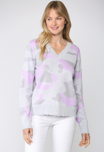 V Neck Lavender Camo Sweater