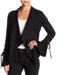 Faux Suede Jacket w/ Bell Sleeve - Jacqueline B Clothing