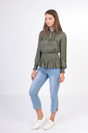 Long Sleeve Smocked Waist Top - Jacqueline B Clothing