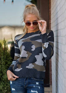 Camo Ripped Edge Sweater - Jacqueline B Clothing
