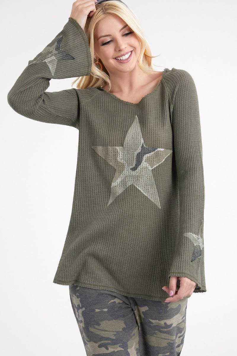 Star Camo Thermal Hoodie - Jacqueline B Clothing