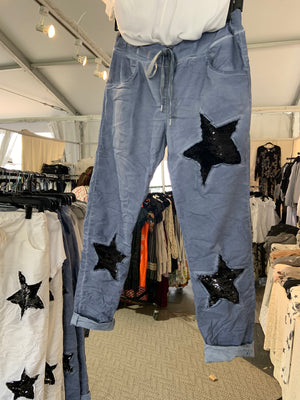 Stretch Italian Sequin Star Pant