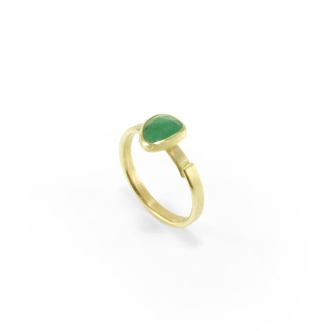 nishnabotna 14k yellow gold ring with rose cut emerald