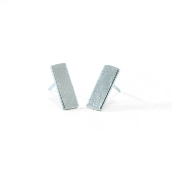 nishnabotna jewelry, short, sterling silver minimal flat earrings
