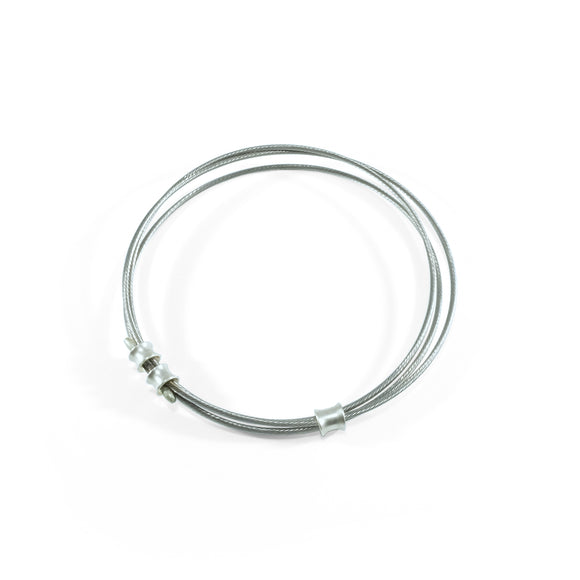 nishnabotna jewelry, recycled bicycle cable and sterling silver bangle bracelet