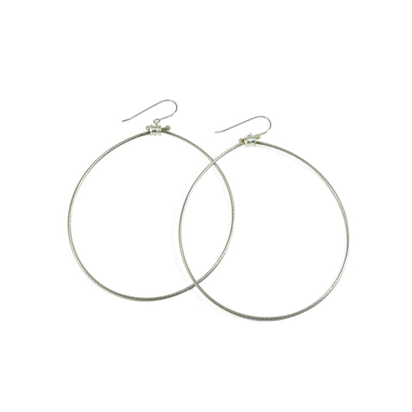 nishnabotna jewelry, recycled bicycle cable and sterling silver hoop earrings