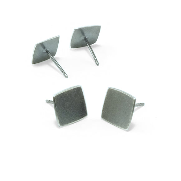 nishnabotna jewelry, small, simple, square, sterling silver botna stud earrings