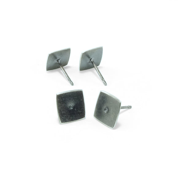 nishnabotna jewelry, simple, square, sterling silver botna stud earrings with center dot