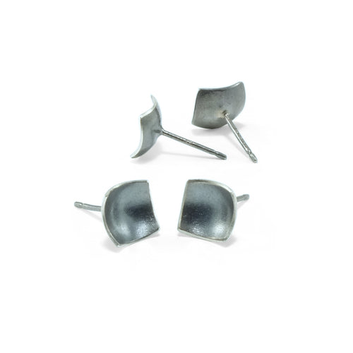 nishnabotna jewelry, simple, square, sterling silver botna stud earrings dapped