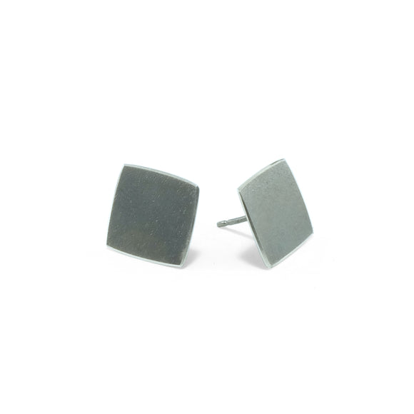 nishnabotna jewelry, simple, square, sterling silver botna stud earrings