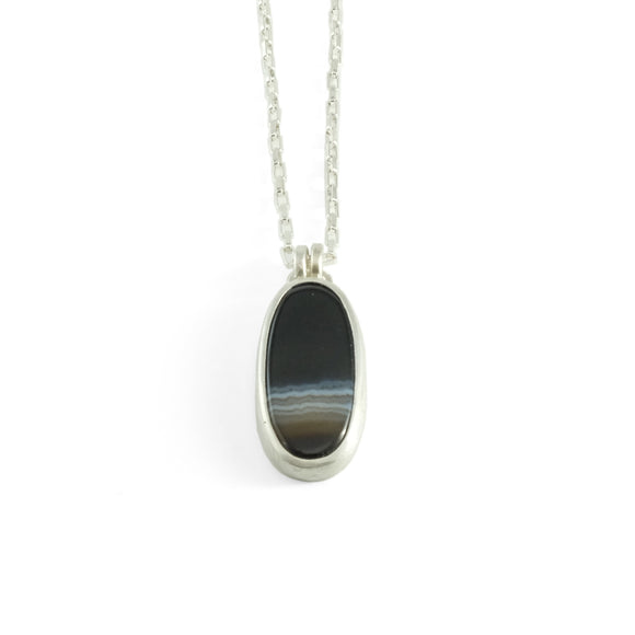 nishnabotna silver botna necklace with oval black agate