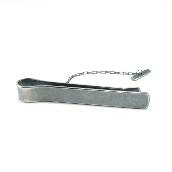Sterling silver tie bar in black oxidized finish.