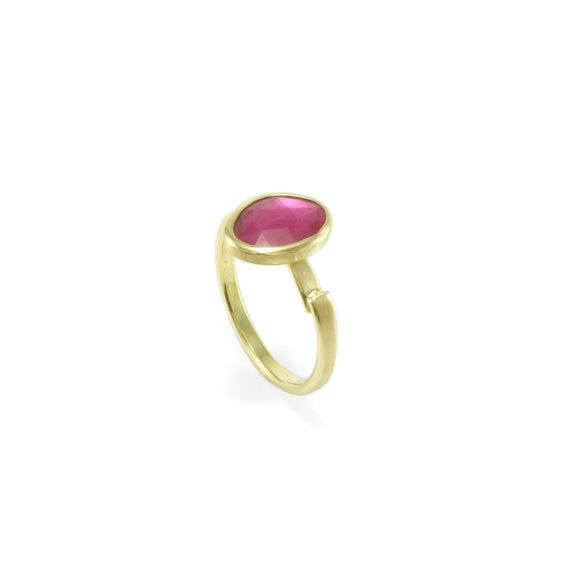 nishnabotna boyer gold rose cut ruby ring