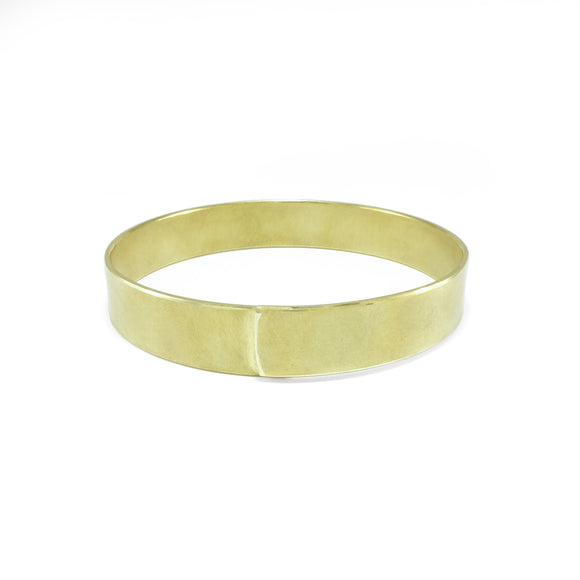 nishnabotna jewelery, brass overlapped wide boyer bangle bracelet