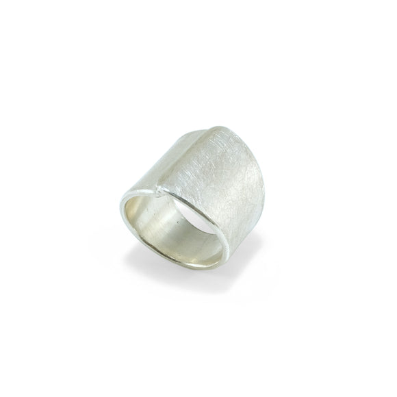 nishnabotna jewelry, sterling silver overlapped wide cigar ring