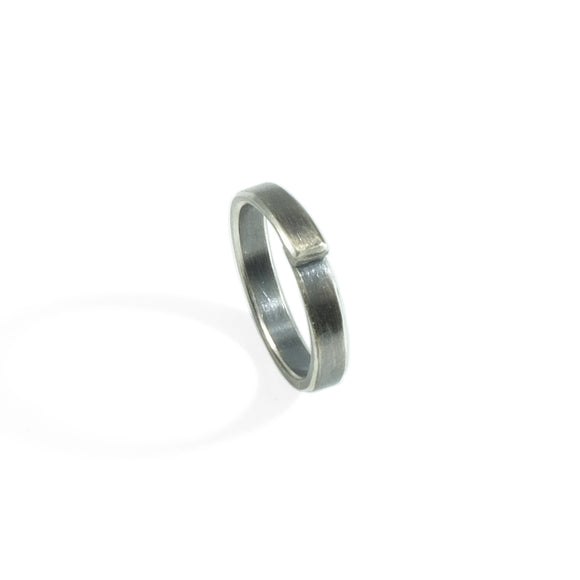 nishnabotna jewelry silver overlapped boyer ring with black patina