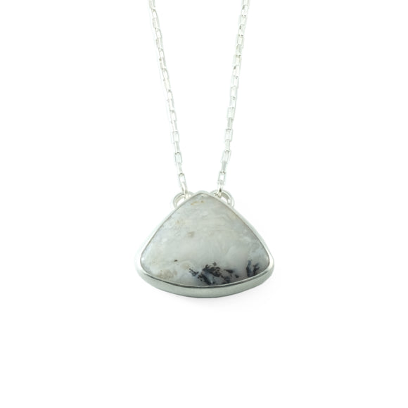 nishnabotna silver necklace with dendritic agate