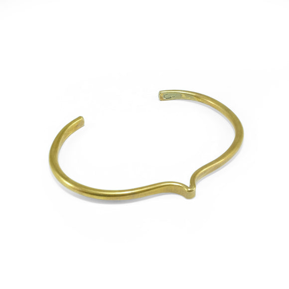 nishnabotna jewelry, brass round furrow cuff bracelet with bend
