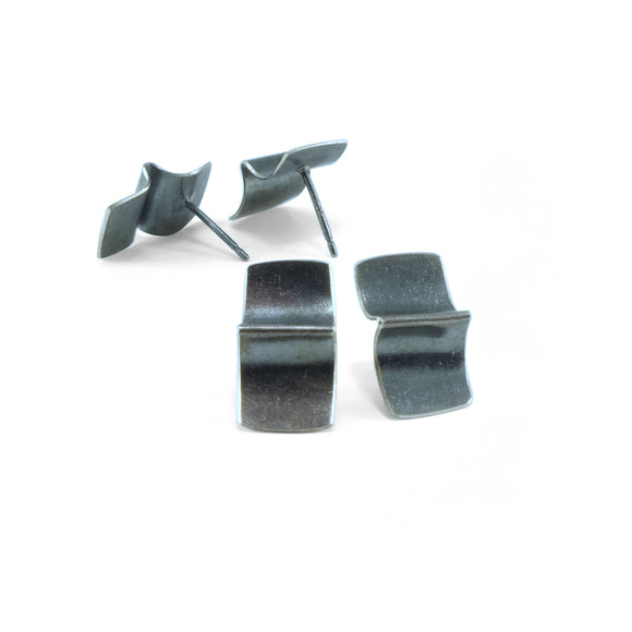 nishnabotna jewelry, sterling silver folded furrow stud earrings with black patina, large