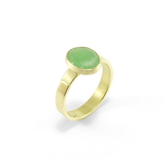 nishnabotna gold rose cut chrysoprase ring