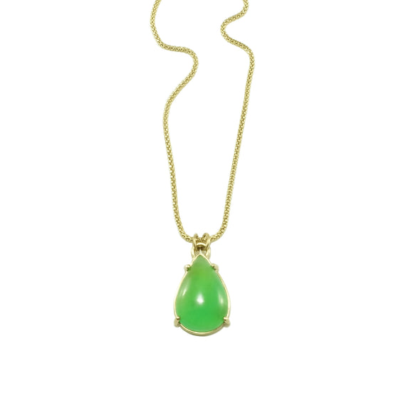 australian chrysoprase pendant necklace in 14k yellow gold